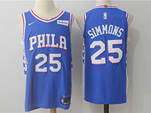 Mens Nba Philadelphia 76ers #25 Ben Simmons Blue Nike Jersey