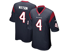 Mens Houston Texans #4 Deshaun Watson Nike Nave Blue 2017 Draft Pick Game Jersey