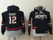 Youth Nfl New England Patriots #12 Tom Brady Blue Pocket Team Hoodie Jersey
