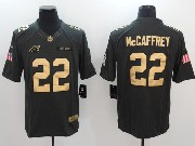 Mens Nfl Carolina Panthers #22 Christian Mccaffrey Salute To Service Limited Gold Number Jersey