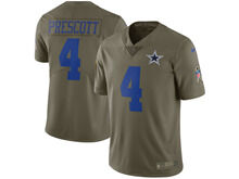 Mens Women Youth Nfl Dallas Cowboys #4 Dak Prescott Green Olive Salute To Service Limited Nike Jersey