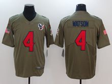 Mens Women Youth Nfl Houston Texans #4 Deshaun Watson Green Olive Salute To Service Limited Nike Jersey