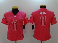 Women Philadelphia Eagles #11 Carson Wentz Pink Vapor Untouchable Limited Jersey