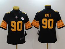 Women Pittsburgh Steelers #90 T. J. Watt Black Color Rush Limited Jersey