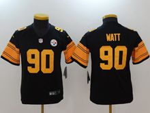 Youth Pittsburgh Steelers #90 T. J. Watt Black Color Rush Limited Jersey