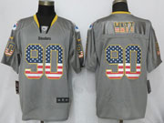 Mens Nfl Pittsburgh Steelers #90 T. J. Watt Gray (2014 Usa Flag Fashion) Elite Jersey