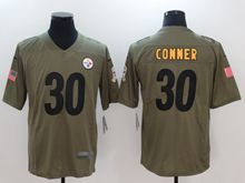 Mens Women Nfl Pittsburgh Steelers  #30 James Conner Green Olive Salute To Service Limited Nike Jersey