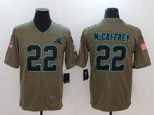 Mens Nfl Carolina Panthers #22 Christian Mccaffrey Green Olive Salute To Service Limited Nike Jersey