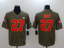 Mens Women Youth Nfl Kansas City Chiefs #27 Kareem Hunt Green Olive Salute To Service Limited Nike Jersey