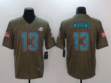 Mens Miami Dolphins #13 Dan Marino Green Olive Salute To Service Limited Nike Jersey