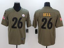 Mens Women Nfl Pittsburgh Steelers #26 Le'veon Bell Green Olive Salute To Service Limited Nike Jersey