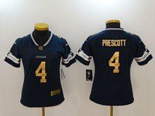 Women Dallas Cowboys #4 Dak Prescott Blue Gold Number Vapor Untouchable Limited Jersey