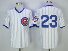 Mens Mlb Chicago Cubs #23 Ryne Sandberg White Blue Stripe Pullover Throwbacks Jersey(no Name)