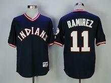 Mens Mlb Cleveland Indians #11 Jose Ramirez Blue Pullover Jersey