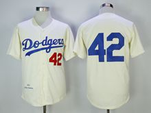 Mens Mlb Los Angeles Dodgers #42 Ackie Robinson Cream Throwbacks Jersey