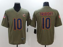 Mens Nfl Chicago Bears #10 Mitchell Trubisky Green Olive Salute To Service Limited Nike Jersey