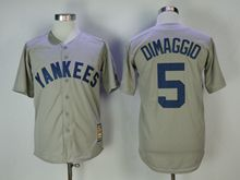 Mens Mlb New York Yankees #5 Joe Dimaggio Gray Throwbacks Cool Base Jersey