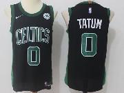 Mens Nba Boston Celtics #0 Jayson Tatum Black Green Number Nike Jersey