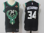 Mens Nba Milwaukee Bucks #34 Giannis Antetokounmpo Black Nike Jersey