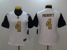 Women Dallas Cowboys #4 Dak Prescott White Thanksgiving Gold Number Vapor Untouchable Limited Jersey