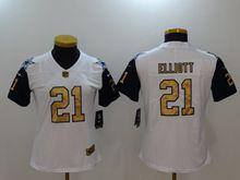 Women Dallas Cowboys #21 Ezekiel Elliott White Thanksgiving Gold Number Vapor Untouchable Limited Jersey