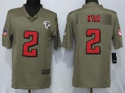 Mens Women Youth Nfl Atlanta Falcons #2 Matt Ryan Green Olive Salute To Service Limited Nike Jersey