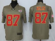 Mens Women Youth Nfl Kansas City Chiefs #87 Travis Kelce Green Olive Salute To Service Limited Nike Jersey
