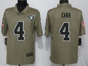 Mens Women Youth Nfl Las Vegas Raiders #4 Derek Carr Green Olive Salute To Service Limited Nike Jersey