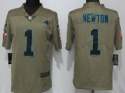 Mens Women Youth Nfl Carolina Panthers #1 Cam Newton Green Olive Salute To Service Limited Nike Jersey