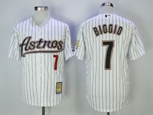 Mens Mlb Houston Astros #7 Craig Biggio White Black Stripe Turn Back Jersey
