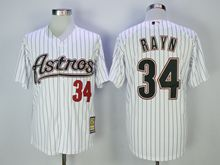 Mens Mlb Houston Astros #34 Nolan Ryan White Black Stripe Turn Back Jersey