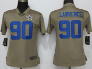 Women Dallas Cowboys #90 Demarcus Lawrence Green Olive Salute To Service Limited Nike Jersey