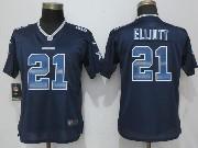 Mens Nfl Dallas Cowboys #21 Ezekiel Elliott Black Strobe Elite Jersey
