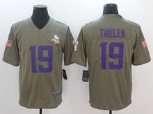 Mens Nfl Minnesota Vikings #19 Adam Thielen Green Olive Salute To Service Limited Nike Jersey