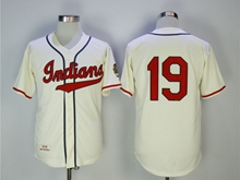 Mens Majestic Cleveland Indians #19 Bob Feller Cream Throwbacks Jersey