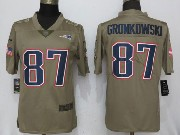 Mens Women Youth Nfl New England Patriots #87 Rob Gronkowski Green Olive Salute To Service Limited Nike Jersey