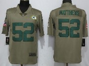 Mens Women Youth Nfl Green Bay Packers #52 Clay Matthews Green Olive Salute To Service Limited Nike Jersey