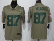 Mens Women Youth Nfl Green Bay Packers #87 Jordy Nelson Green Olive Salute To Service Limited Nike Jersey