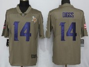 Mens Youth Nfl Minnesota Vikings #14 Stefon Diggs Green Olive Salute To Service Limited Nike Jersey