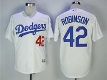 Mens Mlb Los Angeles Dodgers #42 Ackie Robinson White Cool Base Jersey With Team Patch