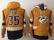 Mens Nhl Nashville Predators #35 Pekka Rinne Gold One Front Pocket Hoodie Jersey