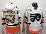 Mens Philadelphia Flyers Custom Made White Pocket Hoodie Jersey