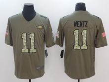 Mens Philadelphia Eagles #11 Carson Wentz Green 2017 Olive Salute To Service Limited Camo Number Jersey