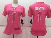 Women Nfl Carolina Panthers #1 Cam Newton Pink Vapor Untouchable Limited Jersey