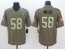 Mens Nfl Denver Broncos #58 Von Miller Green 2017 Olive Salute To Service Limited Camo Number Jersey