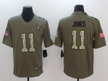 Mens Nfl Atlanta Falcons #11 Julio Jones Green 2017 Olive Salute To Service Limited Camo Number Jersey