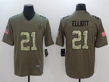 Mens Dallas Cowboys #21 Ezekiel Elliott Green 2017 Olive Salute To Service Limited Camo Number Jersey