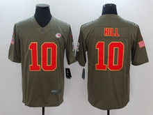 Mens Nfl Kansas City Chiefs #10 Tyreek Hill Green Olive Salute To Service Limited Nike Jersey