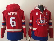 Mens Youth Montreal Canadiens Custom Made Red One Front Pocket Hoodie Jersey