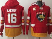 Mens Nhl Florida Panthers #16 Aleksander Barkov Red One Front Pocket Hoodie Jersey